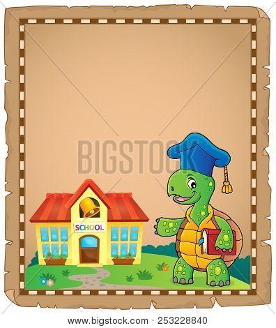 Turtle Teacher Theme Parchment 1 - Eps10 Vector Picture Illustration.