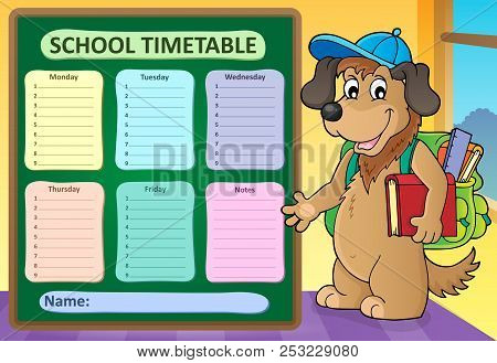Weekly School Timetable Design 8 - Eps10 Vector Picture Illustration.