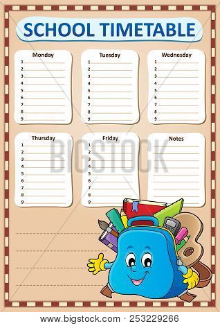Weekly School Timetable Template 4 - Eps10 Vector Picture Illustration.