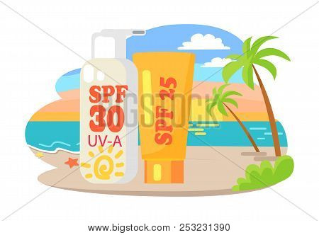 Protective Suntan Cream And Lotion Commercial. Dawn At Beach With Tall Palms And Big Shiny Tubesisol