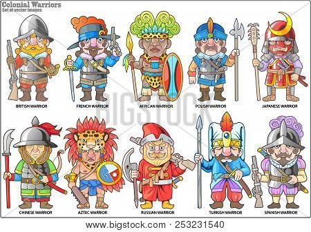 Cartoon Warriors Of The Colonial Era, Set Of Vector Images