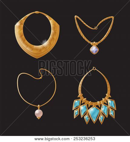 Necklace Glamour, Collection Of Golden Jewellry For Wealthy Ladies, Production With Precious Stones,