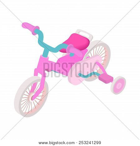 Pink Trike Icon In Cartoon Style On A White Background