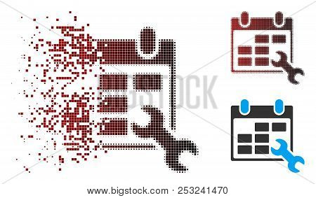 Vector configure timetable icon in sparkle, dotted halftone and undamaged whole variants. Disintegration effect involves rectangle particles and horizontal gradient from red to black. poster