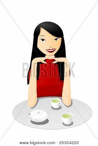 Tea with asian girl