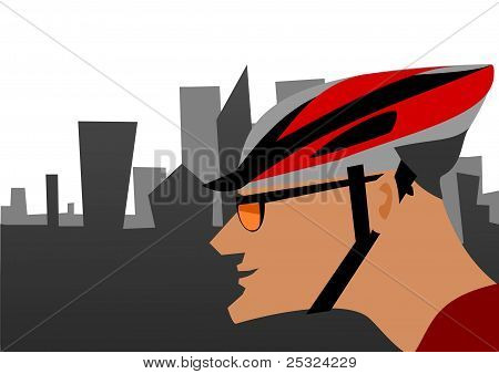 Biker and the city