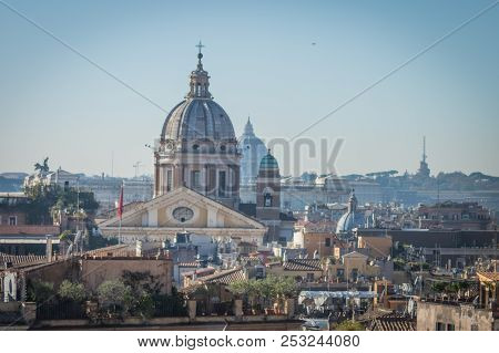 The Domes And Rooftops Of The Eternal City, The View From The Spanish Steps, Rome, Italy, Sunny Day