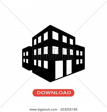3d Buildings Vector Icon Flat Style Illustration For Web, Mobile, Logo, Application And Graphic Desi