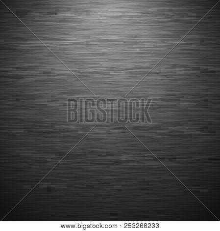 Dark Brushed Metal Texture With Lighting. Vector Steel Background With Scratches.