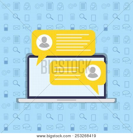 Short Message Service Bubbles With Place For Text Chat Text Boxes.chat, Sms, Tweet, Instant Messagin