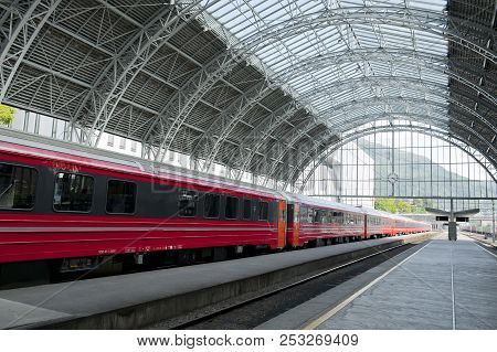 Bergen, Norway - July 15, 2018: Train Standing On The Platform Of The Railway Station - Bergen Stati