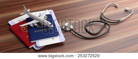 Blue And Red Passports And Medical Stethoscope Isolated On Wooden Background. 3D Illustration