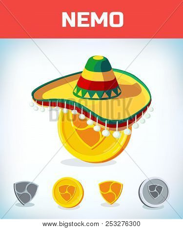 Nemo In Mexican Hat. Nemo. Digital Currency. Crypto Currency. Money And Finance Symbol. Miner Bit Co