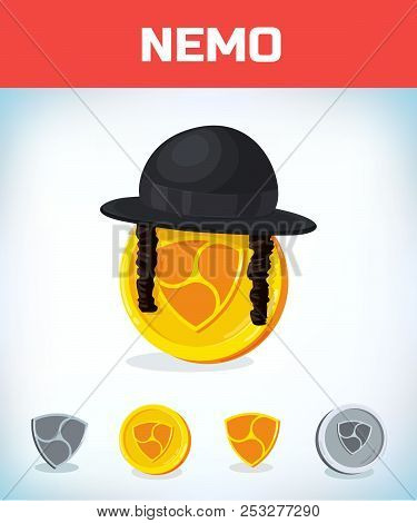 Nemo In Orthodox Jewish Hat. Nemo. Digital Currency. Crypto Currency. Money And Finance Symbol. Mine