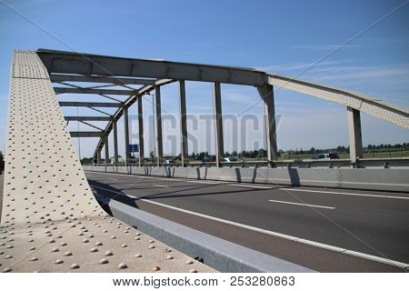 Bridge Over The Railway Tracks At Moordrecht In Motorway A20 In The Netherlands