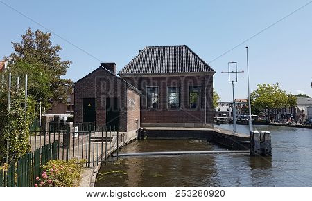 Water Pumping Station At River Vliet In Leidschendam, The Netherlands
