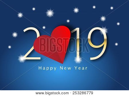 Happy New Year 2019 With Heart Theme. Number 2019