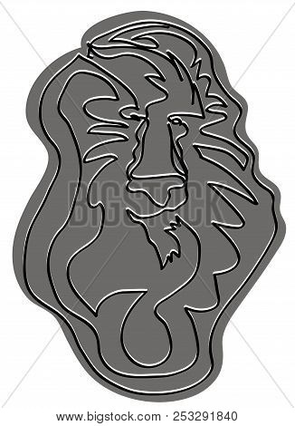 Head Of Lion King  Black And White Simple Line Drawings Of Lion Head. Simple Line Animal Sketch.