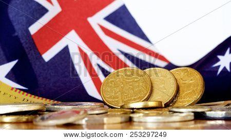 Australian Dollars Set Against The Australian Flag.