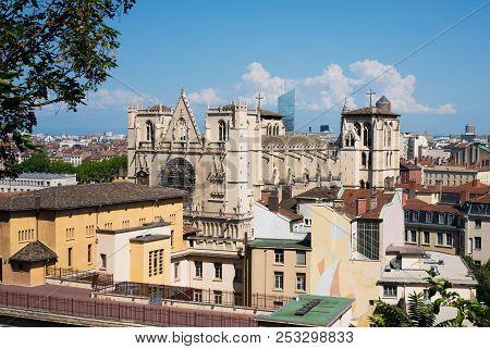 View Of Cathedral Saint-jean-baptiste De Lyon A Roman Catholic Church Located On Saint-jean Square I