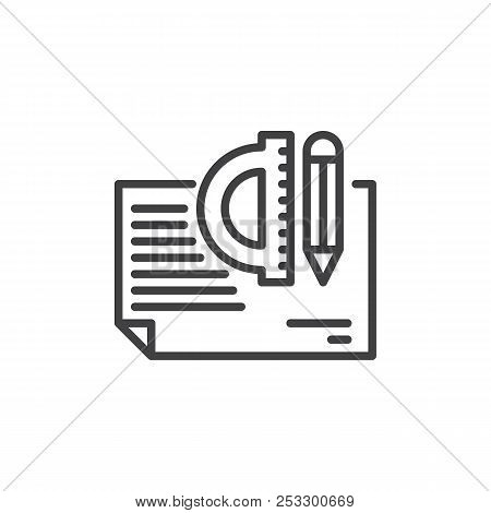 Architectural Project Outline Icon. Linear Style Sign For Mobile Concept And Web Design. Simple Line