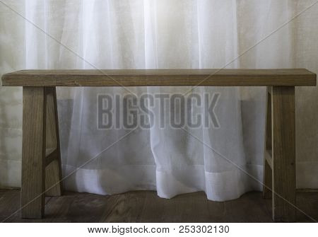 Warm Cozy Room With Wooden Bench, Stock Photo