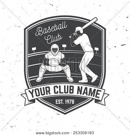 Baseball Or Softball Club Badge. Vector Illustration. Concept For Shirt Or Logo, Print, Stamp Or Tee