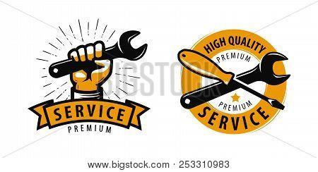 Service Work, Repair Label Or Logo. Tools Concept. Vector Illustration