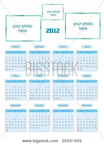 Calendar for 2012 isolated on white background. with photo frames - put your photos into