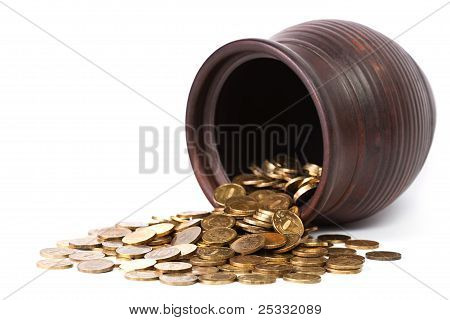 Golden Coins Falling Out From Pot