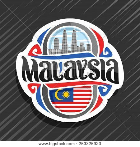 Vector Logo For Malaysia Country, Fridge Magnet With Malaysian State Flag, Original Brush Typeface F