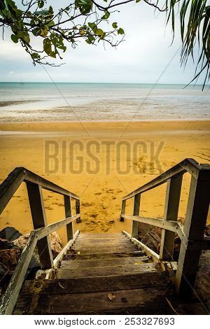Torquay Stairs To The Beach In Hervey Bay In Queensland, Australia