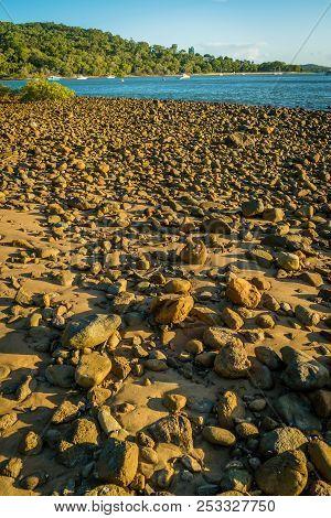 Pebble Rocks On The Beach In 1770 In Australia