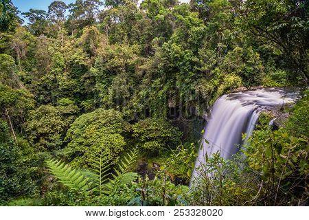 Long Exposure Shot Of Zillie Falls In The Summer In Queensland, Australia