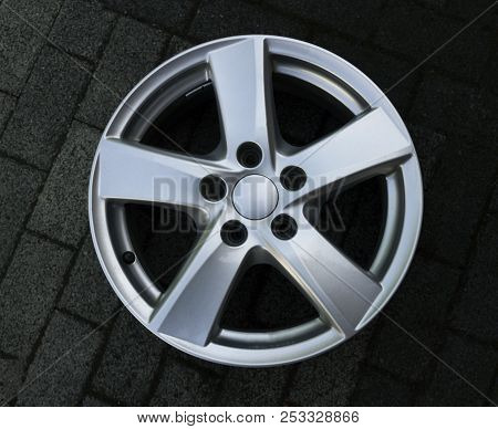 Second hand alloy wheels in store, Aluminium Alloy rims. poster