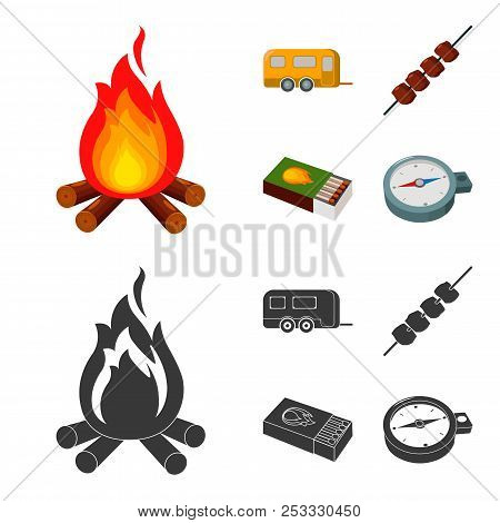 Trailer, Shish Kebab, Matches, Compass. Camping Set Collection Icons In Cartoon, Black Style Vector