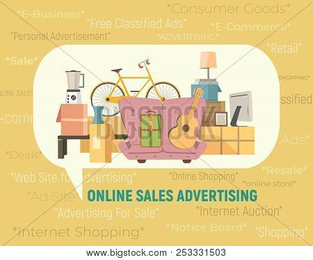 Online Store Sales Icon. Internet Shopping E-commerce At Website Concept. Free Classified Ads For Co