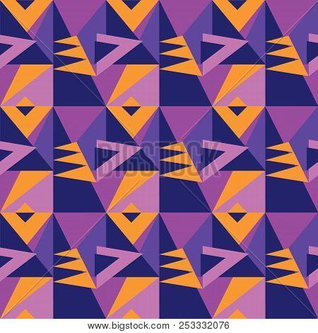 Simple 60s Inspired Vivid Geometric Seamless Pattern. Geometry Stock Vector Illustration. Repeatable