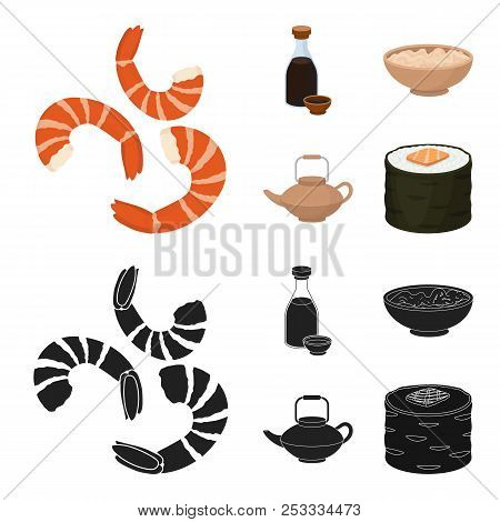 Soy Sauce, Noodles, Kettle.rolls.sushi Set Collection Icons In Cartoon, Black Style Vector Symbol St