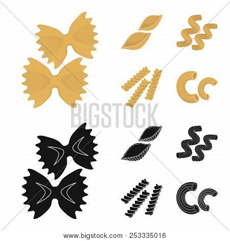 Different Types Of Pasta. Types Of Pasta Set Collection Icons In Cartoon, Black Style Vector Symbol