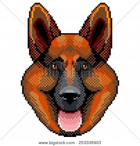 Pixel Sheepdog Face Portrait Detailed Isolated Vector Illustration