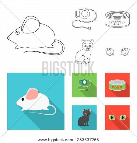 Mouse, Pet Leash, Pet Food, Kitten. Cat Set Collection Icons In Outline, Flat Style Vector Symbol St