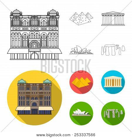 Sights Of Different Countries Outline, Flat Icons In Set Collection For Design. Famous Building Vect