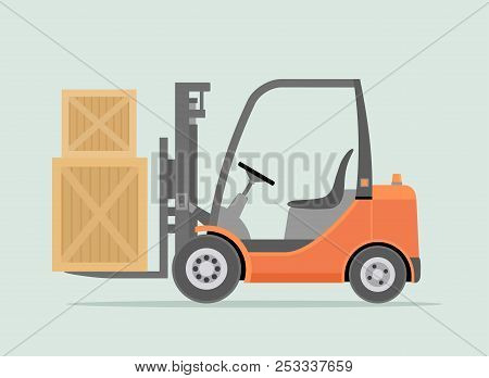 Orange Forklift Truck Isolated On Light Green Background. Warehouse Equipment, Cargo Delivery, Stora