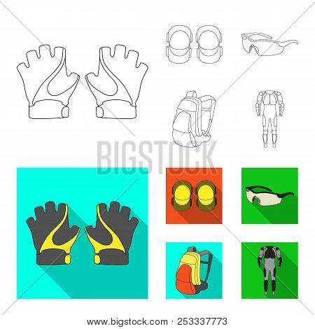 Gloves, Elbow Pads, Goggles, Cyclist Backpack.cyclist Outfit Set Collection Icons In Outline, Flat S