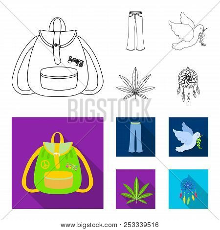 A Cannabis Leaf, A Dove, Jeans, A Backpack.hippy Set Collection Icons In Outline, Flat Style Vector