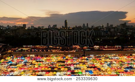 Bangkok, Thailand - March 20, 2017: Top View Of Colorful Tent Retail Shop With Night Light At Talad