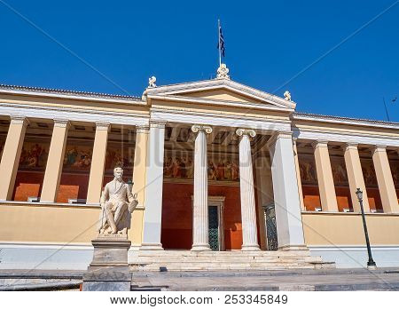 Athens, Greece - June 30, 2018. The National And Kapodistrian University Of Athens With The Statue O