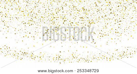 Golden Glitter Confetti On A White Background.gold Banner. Decorative Element. Luxury Background For