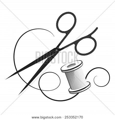 Scissors And Thread Reel For Sewing Vector